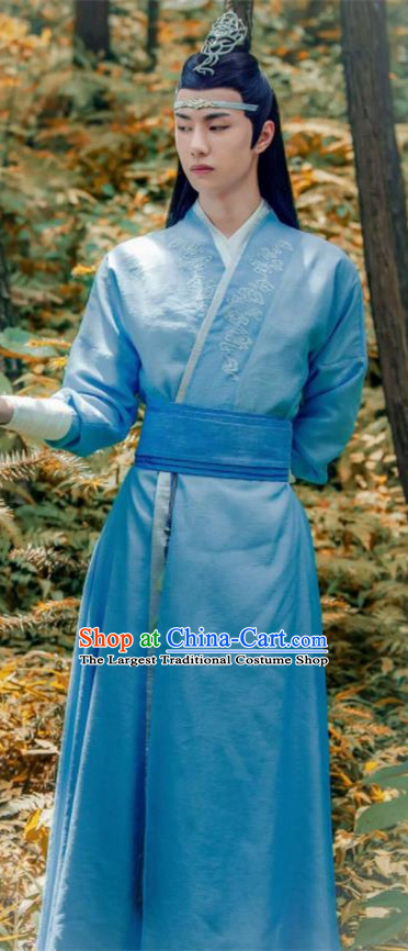 Chinese Drama The Untamed Ancient Nobility Childe Swordsman Lan Wangji Wang Yibo Embroidered Blue Costumes for Men