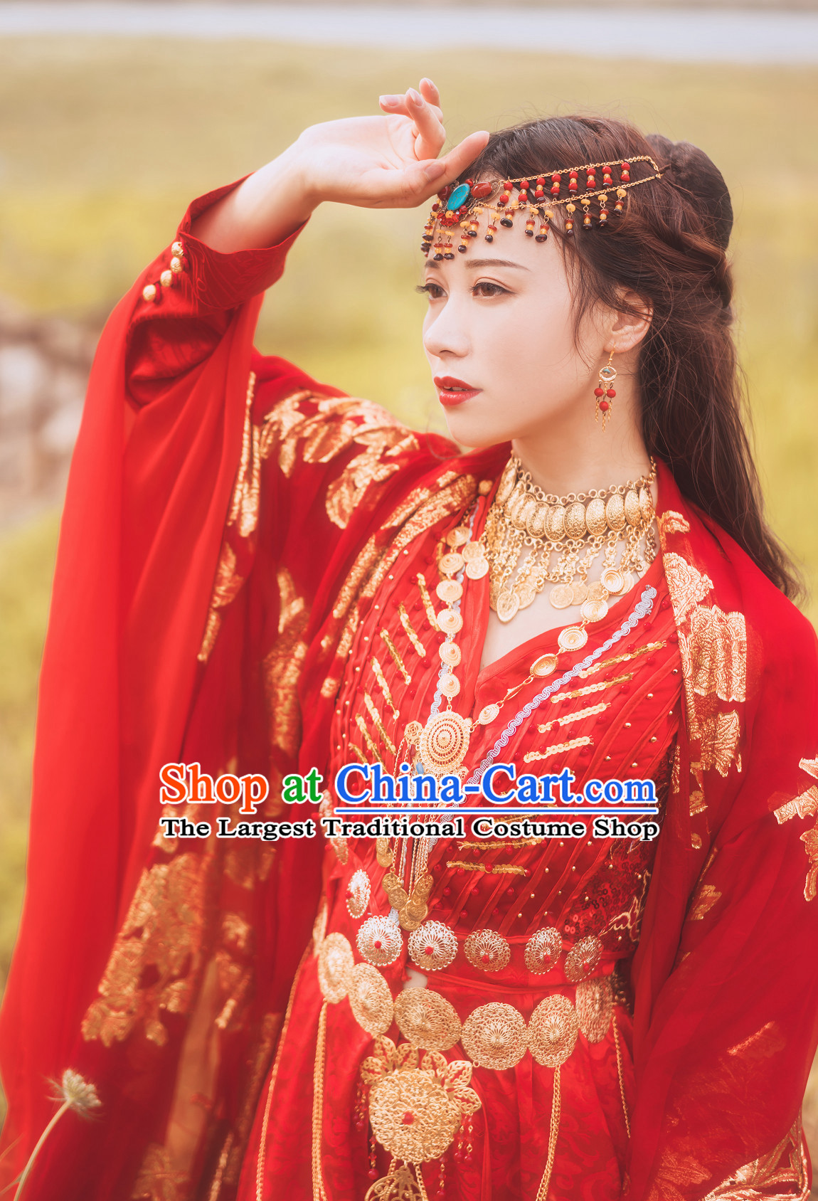 Ancient China Most Beautiful Bride Wedding Dress Clothing Garment Wigs Hair Jewelries Complete Set
