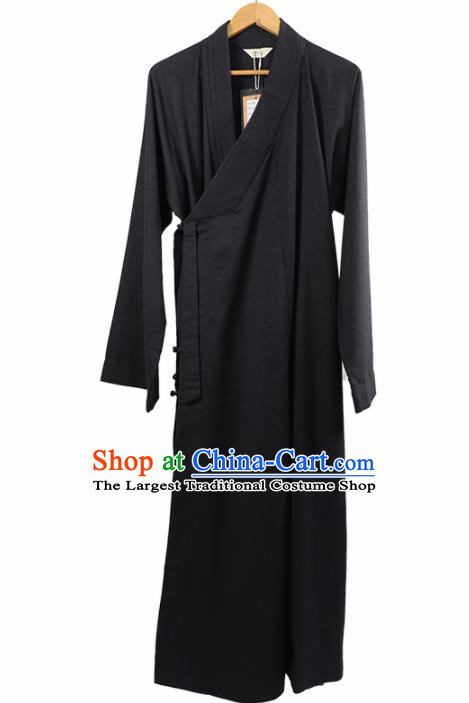 Traditional Chinese Monk Costume Winter Navy Woolen Long Gown for Men