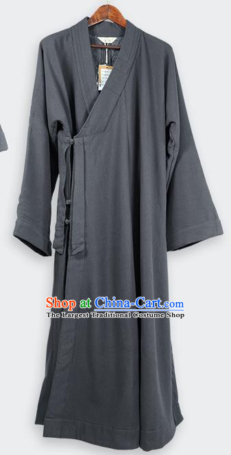 Traditional Chinese Monk Costume Winter Grey Woolen Long Gown for Men