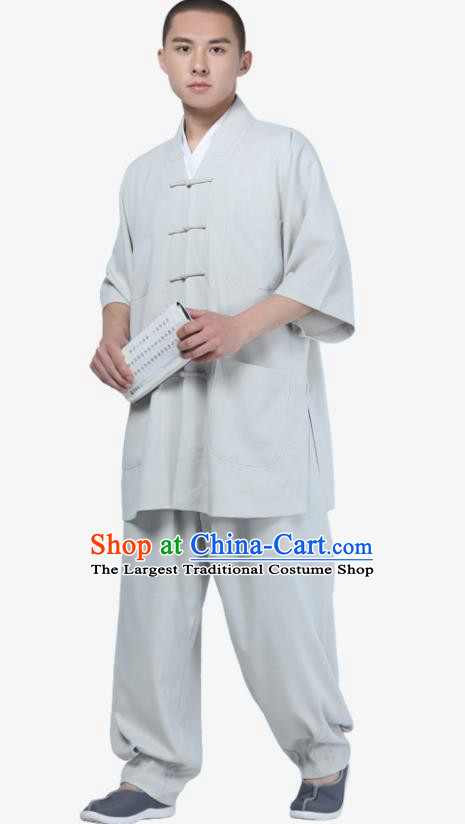 Traditional Chinese Monk Costume Meditation Light Grey Shirt and Pants for Men