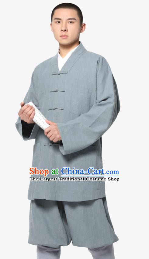 Traditional Chinese Monk Costume Meditation Grey Ramie Shirt and Pants for Men