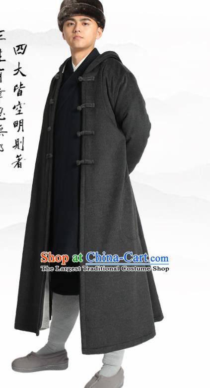 Traditional Chinese Monk Costume Lay Buddhists Deep Grey Dust Coat for Men