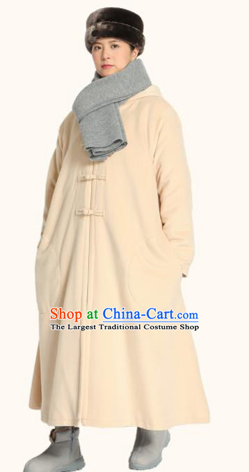 Traditional Chinese Monk Costume Lay Buddhists Beige Dust Coat for Men