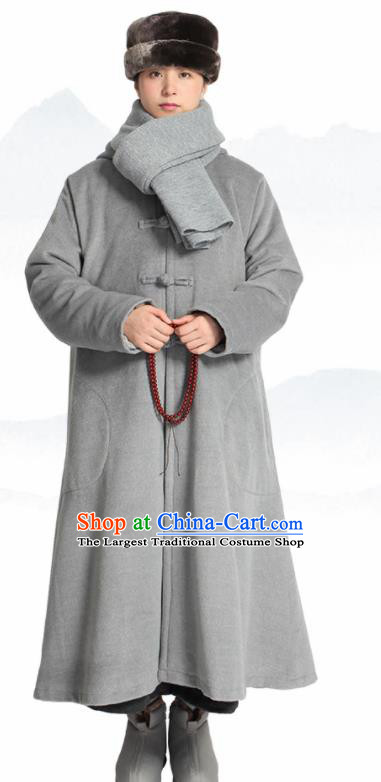 Traditional Chinese Monk Costume Lay Buddhists Grey Dust Coat for Men