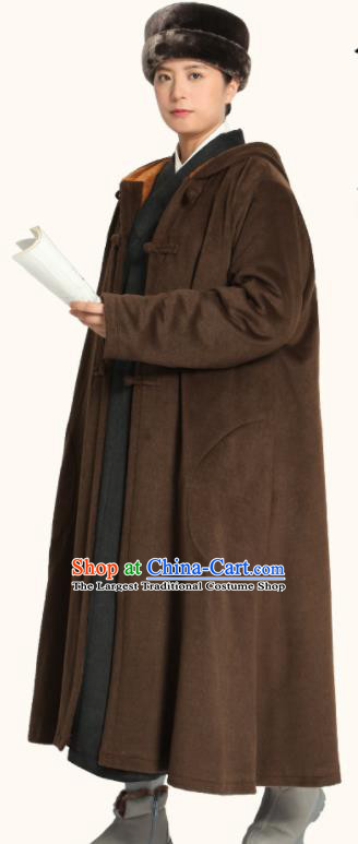 Traditional Chinese Monk Costume Lay Buddhists Brown Dust Coat for Men