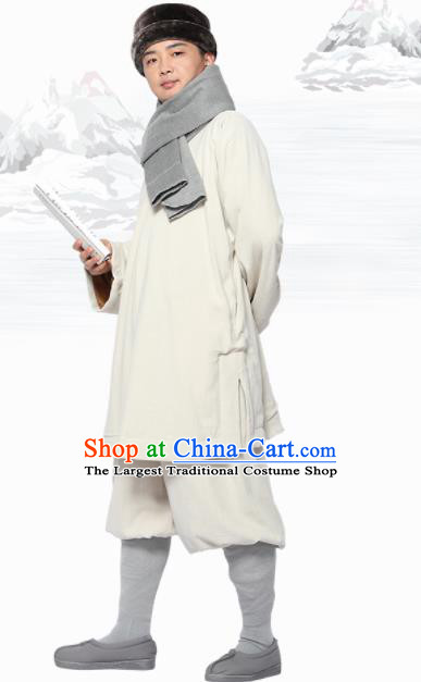 Traditional Chinese Monk Costume Meditation White Flax Outfits Shirt and Pants for Men