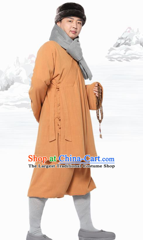 Traditional Chinese Monk Costume Meditation Yellow Flax Outfits Shirt and Pants for Men
