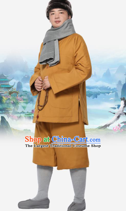 Traditional Chinese Monk Costume Meditation Outfits Khaki Cotton Wadded Jacket Shirt and Pants for Men