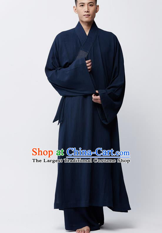 Traditional Chinese Monk Costume Lay Buddhists Navy Robe for Men