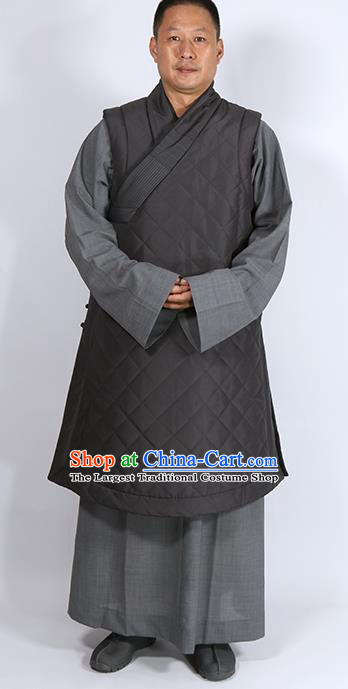 Traditional Chinese Monk Costume Lay Buddhists Grey Cotton Padded Jacket for Men