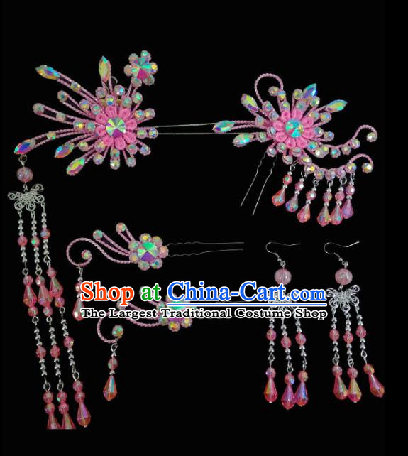 Chinese Traditional Beijing Opera Hair Accessories Peking Opera Diva Pink Flower Hairpins Complete Set for Adults