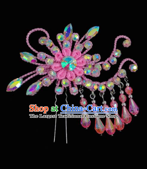 Chinese Traditional Beijing Opera Hair Accessories Peking Opera Diva Pink Flower Tassel Hairpins for Adults