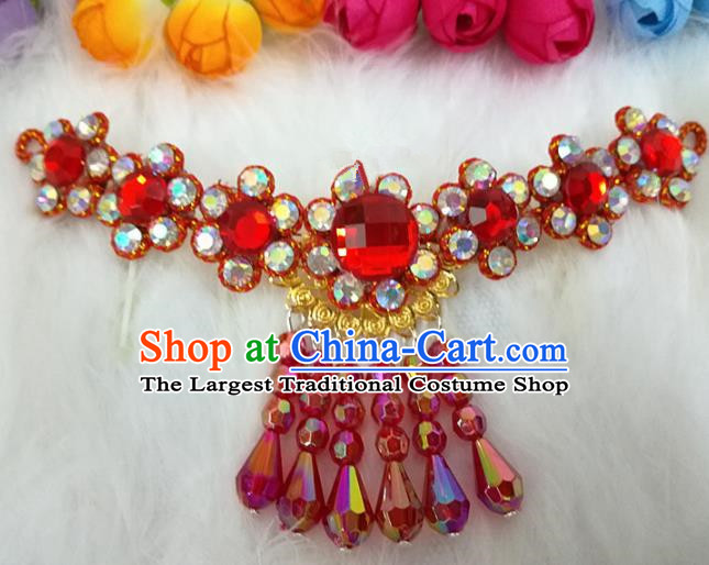 Chinese Traditional Beijing Opera Hair Accessories Peking Opera Diva Red Crystal Frontlet Hairpins for Adults