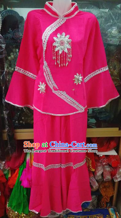 Chinese Traditional Beijing Opera Costume Peking Opera Folk Dance Rosy Clothing for Adults
