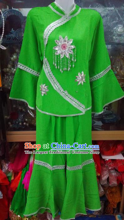 Chinese Traditional Beijing Opera Costume Peking Opera Folk Dance Green Clothing for Adults