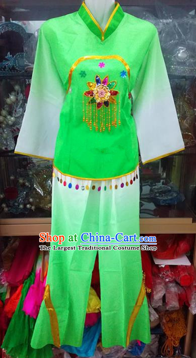 Chinese Traditional Beijing Opera Costume Peking Opera Folk Dance Yangko Green Clothing for Adults