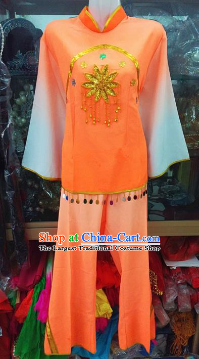 Chinese Traditional Beijing Opera Costume Peking Opera Folk Dance Yangko Orange Clothing for Adults