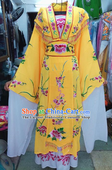 Chinese Traditional Beijing Opera Costume Peking Opera Princess Yellow Dress for Adults