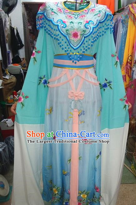Chinese Traditional Beijing Opera Actress Costume Peking Opera Princess Blue Dress for Adults