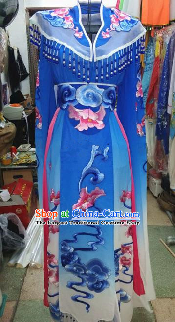 Chinese Traditional Beijing Opera Princess Costume Peking Opera Actress Royalblue Dress for Adults