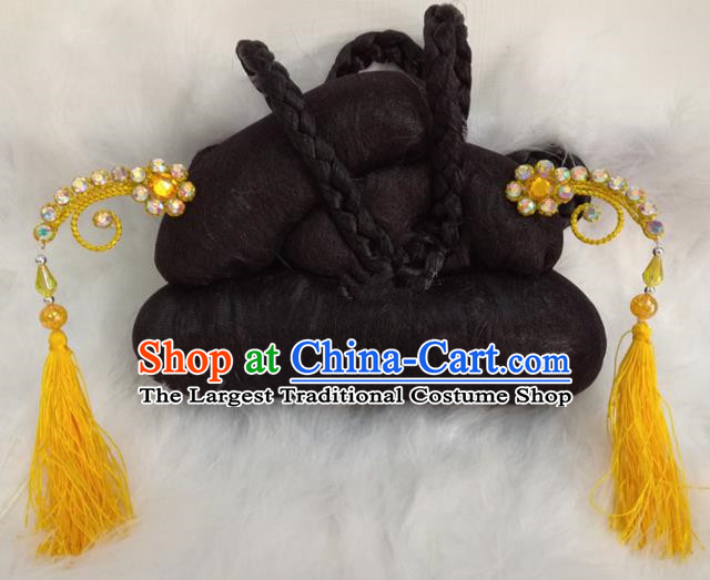 Chinese Traditional Beijing Opera Hair Accessories Peking Opera Yellow Tassel Hairpins for Adults