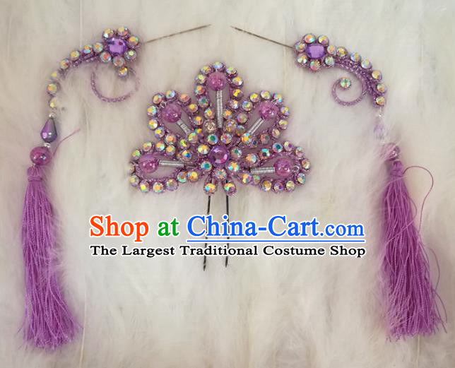 Chinese Traditional Beijing Opera Hair Accessories Peking Opera Purple Flower Hairpins Tassel Step Shake for Adults