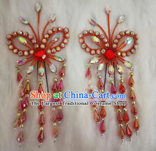 Chinese Traditional Beijing Opera Hair Accessories Peking Opera Red Butterfly Tassel Hairpins for Adults