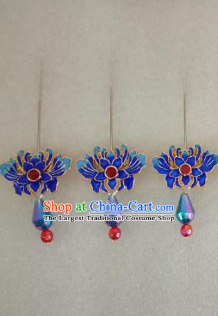 Chinese Traditional Beijing Opera Hair Accessories Peking Opera Blueing Lotus Hairpins for Adults