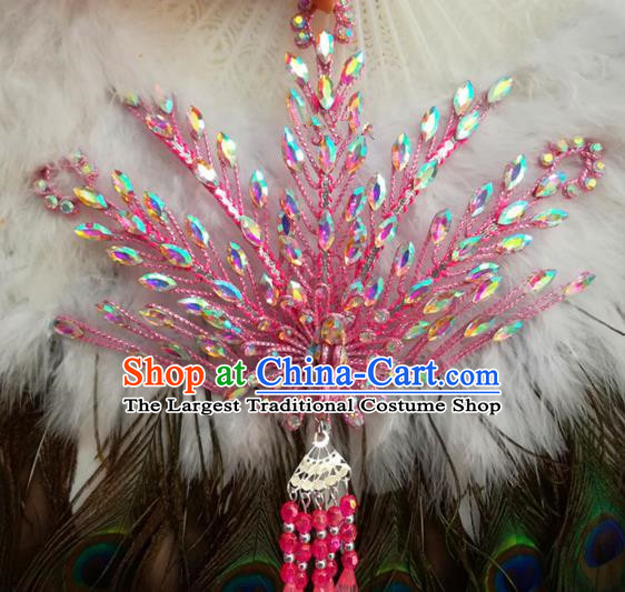 Chinese Traditional Beijing Opera Hair Accessories Peking Opera Princess Pink Phoenix Hairpins for Adults