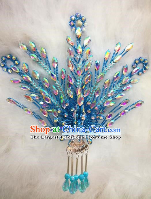 Chinese Traditional Beijing Opera Hair Accessories Peking Opera Princess Blue Phoenix Hairpins for Adults