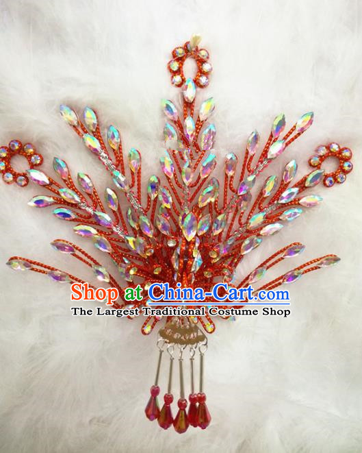 Chinese Traditional Beijing Opera Hair Accessories Peking Opera Princess Red Phoenix Hairpins for Adults
