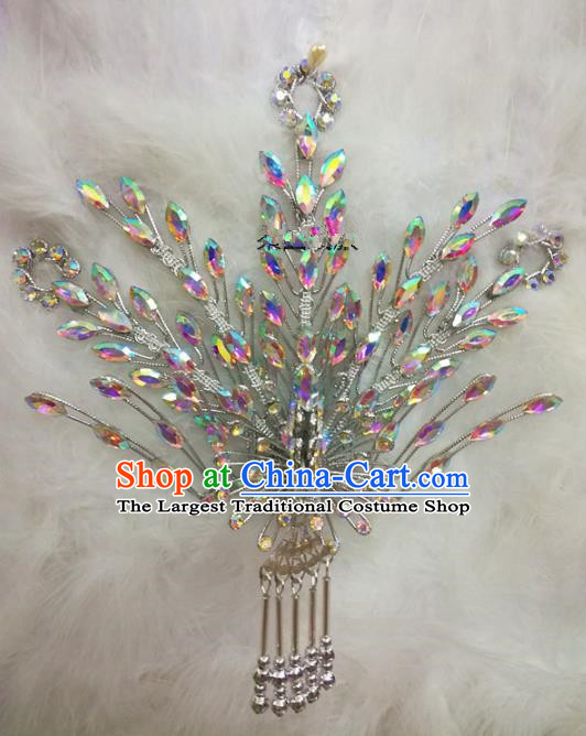 Chinese Traditional Beijing Opera Hair Accessories Peking Opera Princess White Phoenix Hairpins for Adults