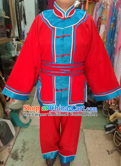 Chinese Traditional Beijing Opera Costume Peking Opera Female Prisoner Red Clothing for Adults