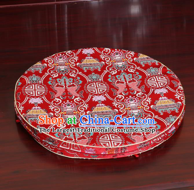 Chinese Classical Household Ornament Traditional Red Brocade Rush Cushion Cover Fishes Pattern Mat Cover