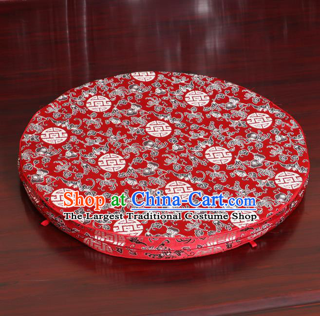 Chinese Classical Household Ornament Red Brocade Rush Cushion Cover Traditional Chrysanthemum Pattern Mat Cover
