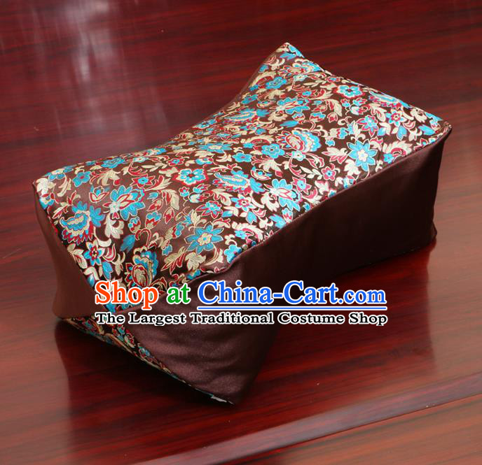 Chinese Traditional Pattern Brown Brocade Pillow Slip Pillow Cover Classical Household Ornament