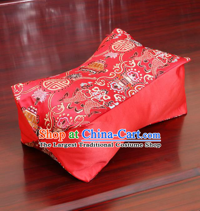 Chinese Traditional Pattern Red Brocade Pillow Slip Pillow Cover Classical Household Ornament