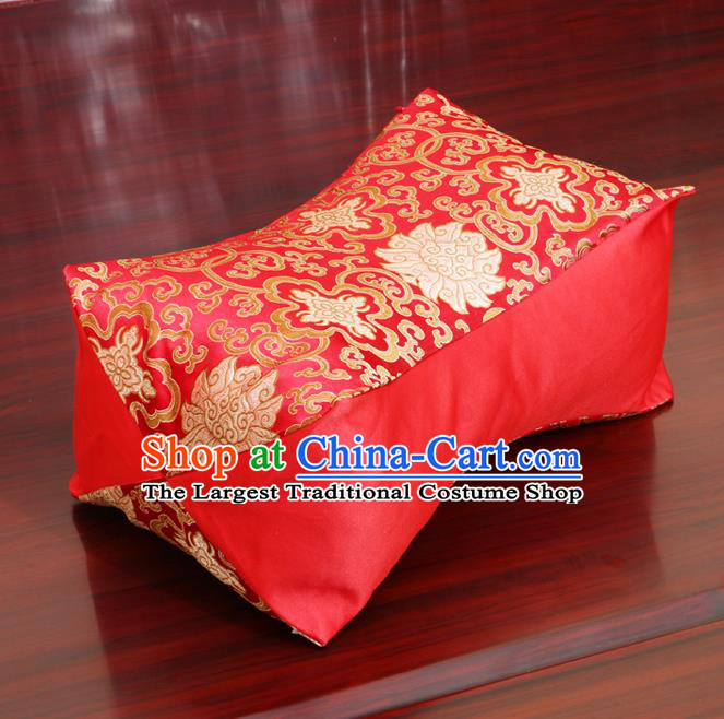 Chinese Traditional Lotus Pattern Red Brocade Pillow Slip Pillow Cover Classical Household Ornament