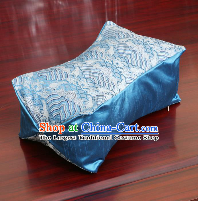 Chinese Traditional Wave Pattern Blue Brocade Pillow Slip Pillow Cover Classical Household Ornament