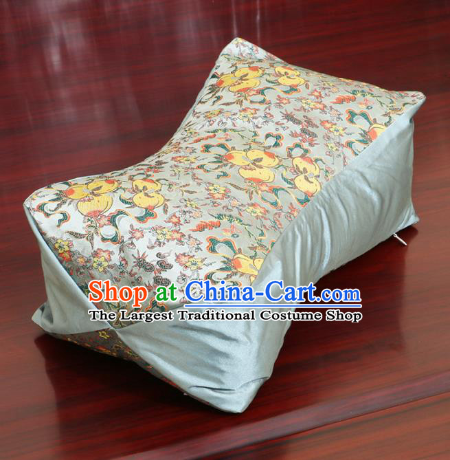 Chinese Traditional Peach Pattern Blue Brocade Pillow Slip Pillow Cover Classical Household Ornament