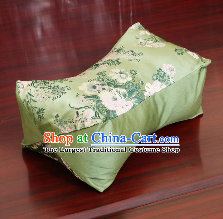 Chinese Traditional Peony Pattern Green Brocade Pillow Slip Pillow Cover Classical Household Ornament