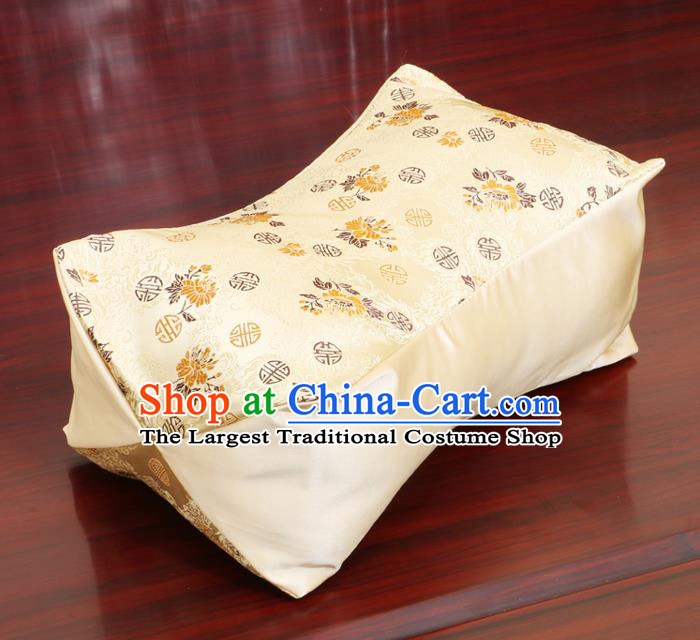 Chinese Traditional Chrysanthemum Pattern Yellow Brocade Pillow Slip Pillow Cover Classical Household Ornament
