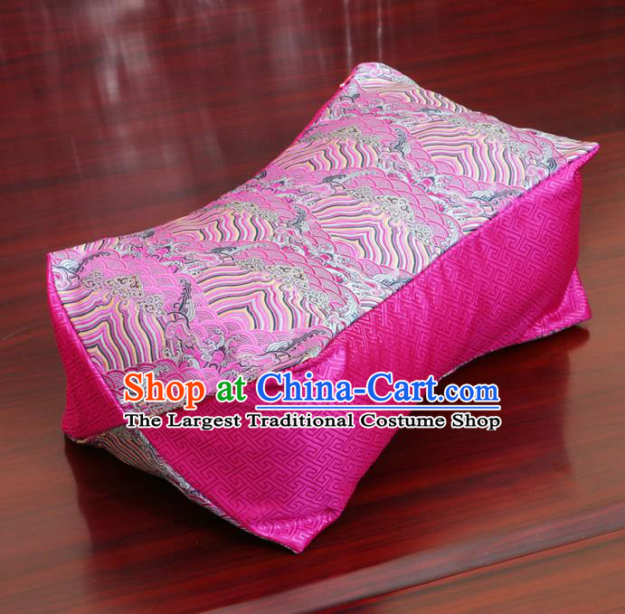 Chinese Traditional Wave Pattern Rosy Brocade Pillow Slip Pillow Cover Classical Household Ornament