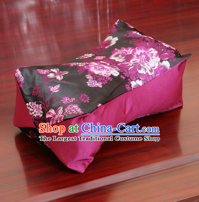 Chinese Traditional Peony Pattern Black Brocade Pillow Slip Pillow Cover Classical Household Ornament
