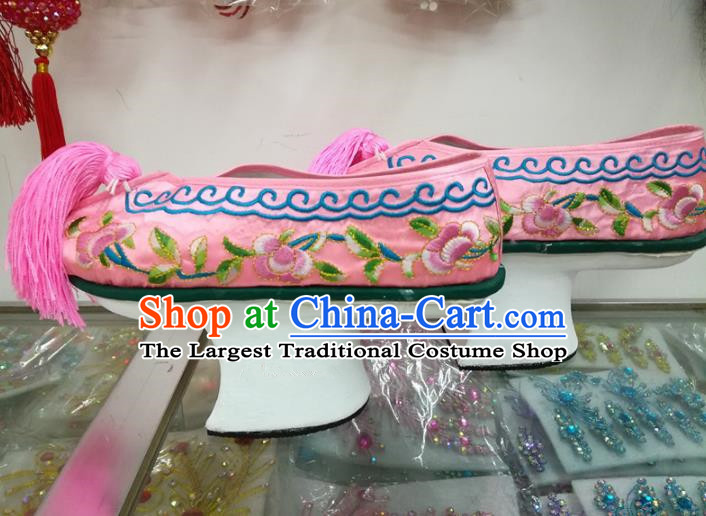 Chinese Traditional Beijing Opera Shoes Qing Dynasty Princess Pink Shoes for Adults