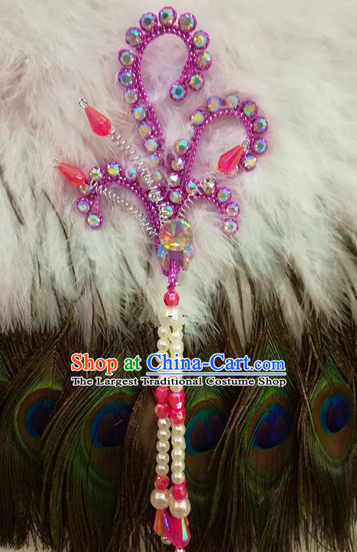Chinese Traditional Beijing Opera Hair Accessories Peking Opera Beads Tassel Purple Phoenix Hairpins for Adults