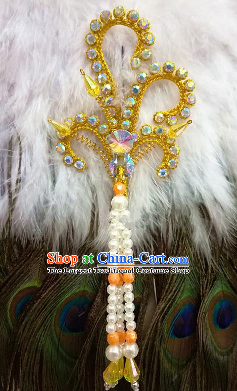 Chinese Traditional Beijing Opera Hair Accessories Peking Opera Beads Tassel Golden Phoenix Hairpins for Adults