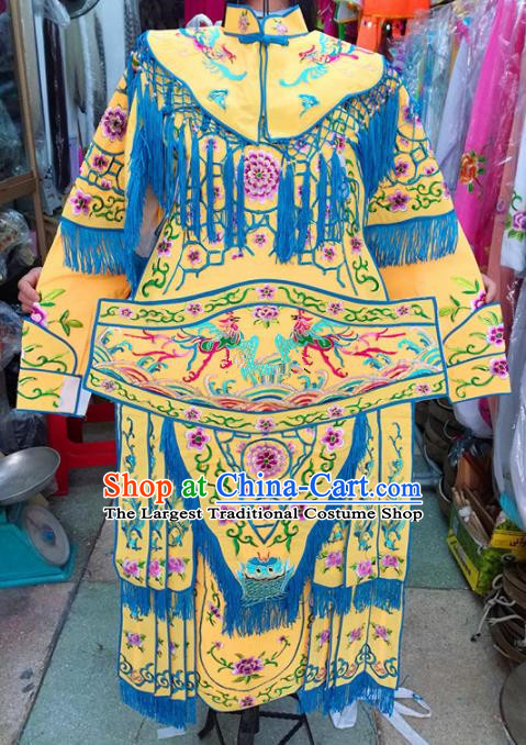 Chinese Traditional Beijing Opera Costume Peking Opera Female General Yellow Clothing for Kids