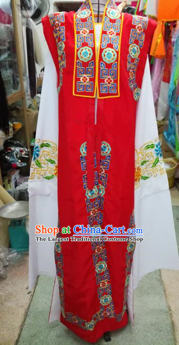 Chinese Traditional Beijing Opera Old Gentleman Costume Peking Opera Embroidered Red Clothing for Adults